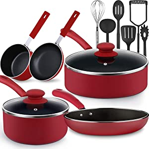 Lightning Deals Non-Stick Induction Cookware Set, Dishwasher Safe Pots and Pans Set, Silicone Handle Kitchen Ware, Germany Professional Durable Multilayer NonStick Coating, Utensils Set 13-Piece Set