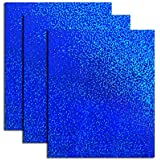 Holographic Foil Heat Transfer Vinyl HTV Bundle for T Shirts, 12x10 inch,Royal Blue Colors, Pack of 3