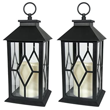 BANBERRY DESIGNS Decorative Lanterns - Black Decorative Lantern with a Flameless LED Pillar Candle and 5 Hour Timer - Outdoor Lighting - Set of 2-13  H