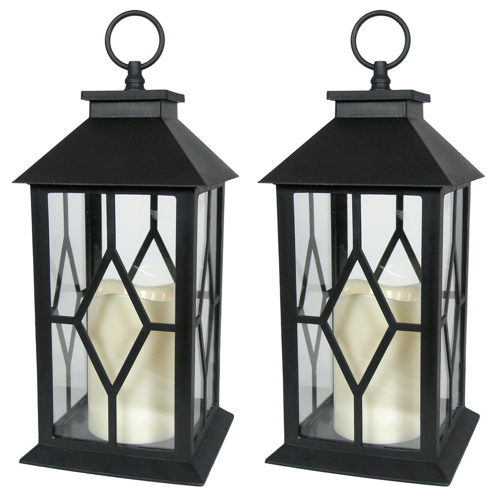 Banberry Designs Decorative Lanterns - Black Decorative Lantern with a Flameless LED Pillar Candle and 5 Hour Timer - Outdoor Lighting - Set of 2-13'' H