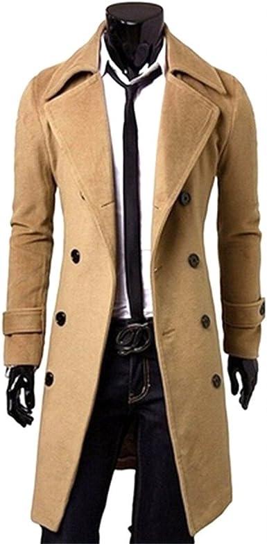 FANSHONN Mens Warm Winter Trench Coats Long Jacket Slim Fit Single Breasted Overcoat