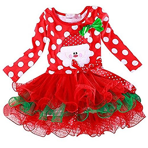 [Flying Fish Santa Claus Pattern Polka Dot costume Christmas Girls Long Sleeve Santa Party Dress (Height 110cm)] (Childrens Santa Costume Pattern)