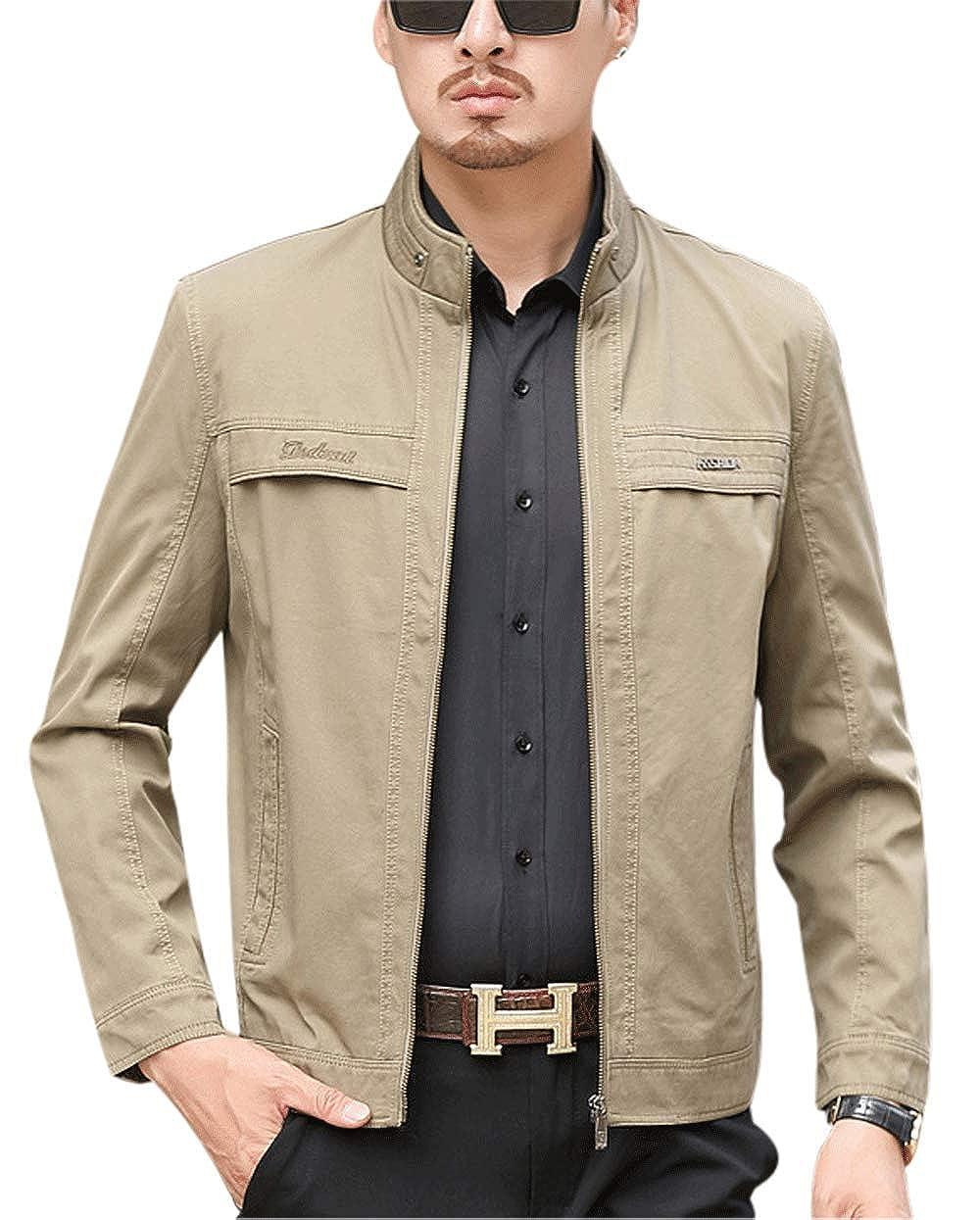 Gihuo Men's Casual Zip-Front Cotton Jacket