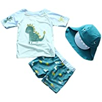 7d0f2b206ade0 Baby Toddler Boys Two Pieces Swimsuit Set Swimwear Dinosaur Bathing Suit  Rash Guards with Hat UPF
