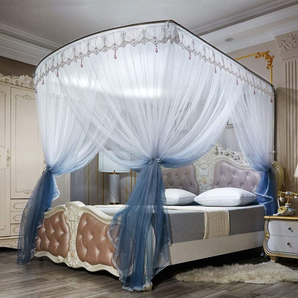 姫ベッドキャノピー,の-形のグラデーションモスキートネット ヨーロピアンスタイル レース ベッドのためのステンレス鋼サポートが付いている暗号化糸のベッドのカーテン -グレー