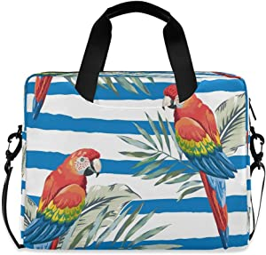 CCDMJ Laptop Case Tropical Flower Macaw Parrot Laptops Sleeve Shoulder Messenger Bag Briefcase Notebook Computer Tablet Bags with Strap Handle for Women Man Boys Girls 16 Inch