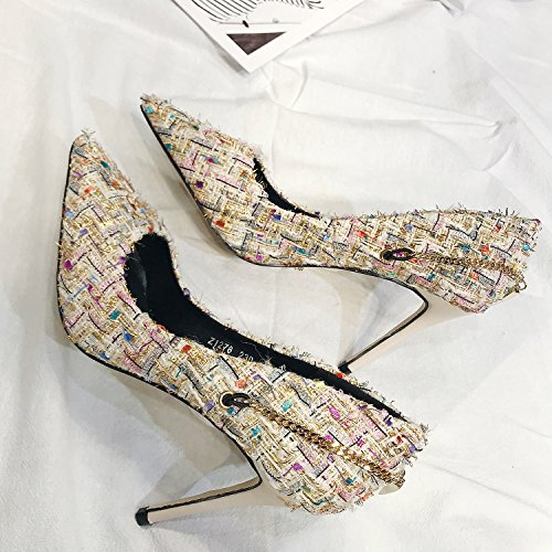 Lady Con Multa Zapatos Señoras Zapatos De 9Cm Muelle Princesa MDRW 39 35 Match Heeled Color Una Ocio Trabajo Señaló Solo High Zapatos Albaricoque All Elegante AwqZ7vZd