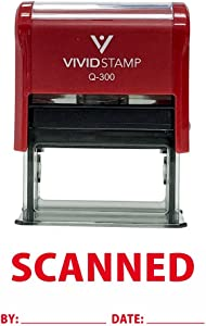 Scanned by Date Self Inking Rubber Stamp (Red Ink) Large