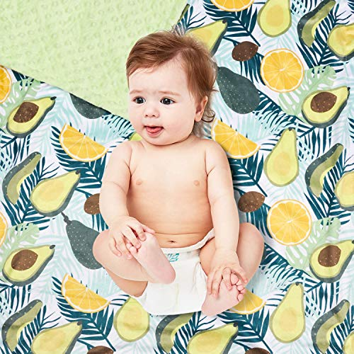 BORITAR Baby Blanket for Unisex Super Soft Minky with Double Layer Dotted Backing, Fresh Avocado Printed 30 x 40 Inch, Green