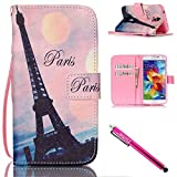 Electronics : Galaxy S5 mini Case, Firefish [Kickstand] [Shock Absorbent] Double Protective Case Flip Folio Slim Magnetic Cover with Wrist Strap for Samsung Galaxy S5 mini (SM-G800)-Tower