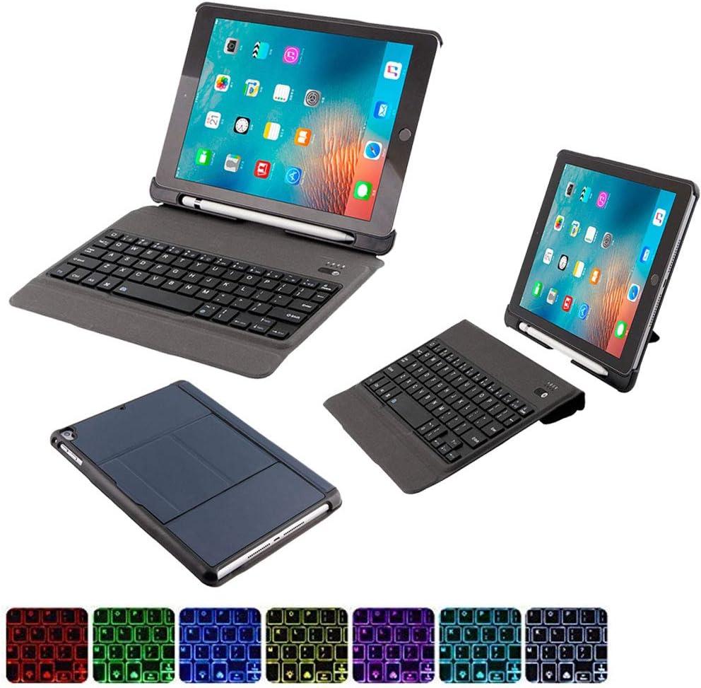 iPad Keyboard Case for iPad 2018 (6th Gen) - iPad 2017 (5th Gen) - iPad Pro 9.7 - iPad Air 2 & 1 - Thin & Light - Pencil Holder - Wireless/BT - Backlit 7 Color - iPad Case with Keyboard(Navyblue)