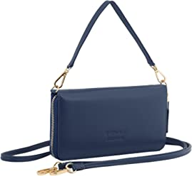 StilGut Smart Wallet en cuir - Pochette, sac, housse portable et sac à bandoulière, Bleu-Foncé Nappa