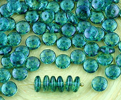 60pcs Crystal Peridot Green Blue Picasso Terracotta Disc Flat Round Disk Spacer Washer Solo One Hole Czech Glass Beads 6mm (Peridot Disc)