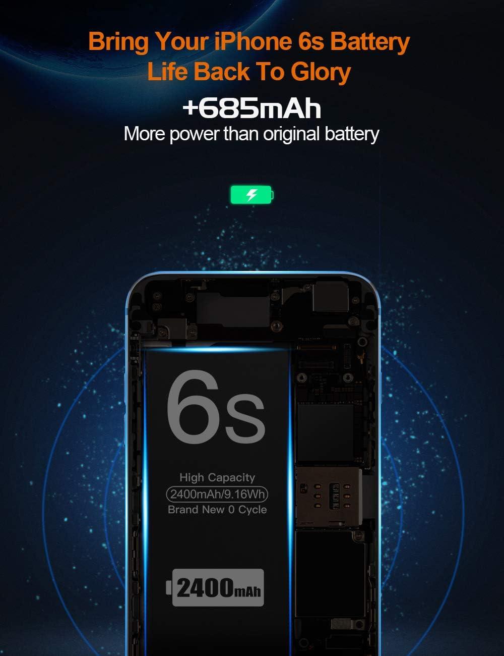 2400mAh Batería para iPhone 6s,EMNT Recambio iPhone 6S Bateria【2020 Nueva versión】 Alta Capacidad Incluye Manual de reparación y Kit Profesional de ...