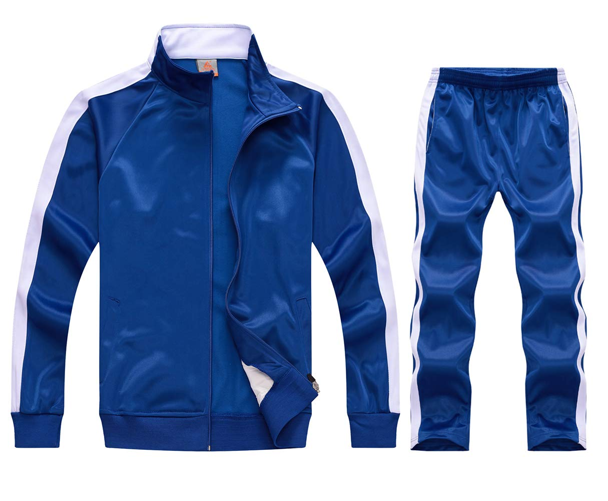 myglory77mall Running Jogging Tracksuit Jacket and Pants Warm Up Gym Wear 6801 Blue XS US(M Asian) by myglory77mall