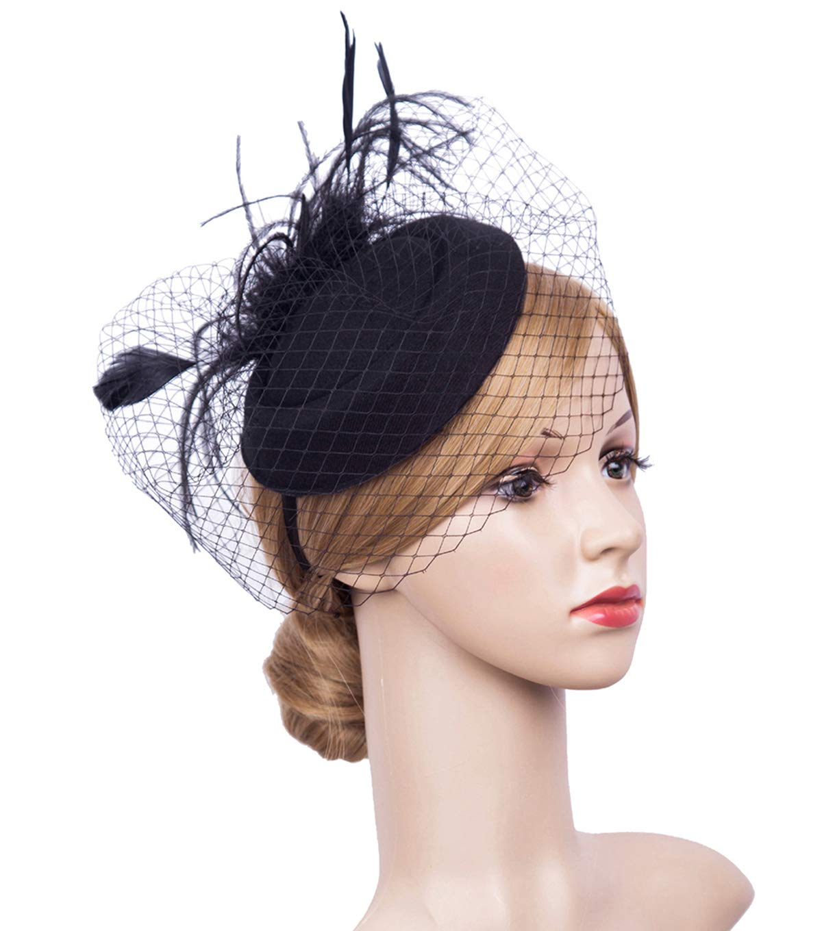K.CLASSIC Fascinator Hair Clip Pillbox Hat Bowler Feather Flower Veil Wedding Party Hat (Black5)