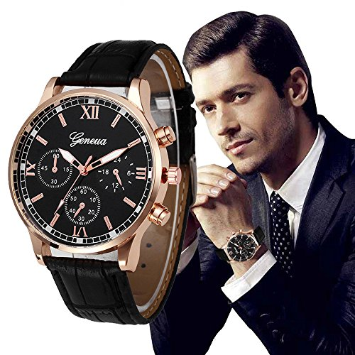 Mens Quartz Watch,COOKI Unique Analog Business Casual Fashion Wristwatch,Clearance Cheap Watches with Round Dial Case,Comfortable PU Leather Band-W12
