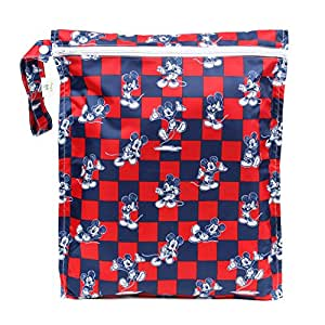 Bumkins Disney Baby Zippered Wet Bag, Mickey Mouse Checkered