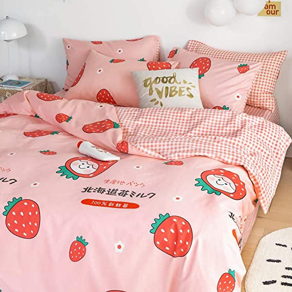 BHUSB Reversible Kids Duvet Cover Set Queen Pink with Love Heart Printing 100/% Cotton Bedroom Bedding Set Full for Boys Girls Teens Grey Stripe Pattern Comforter Cover with Zipper Closure BH6801Q1