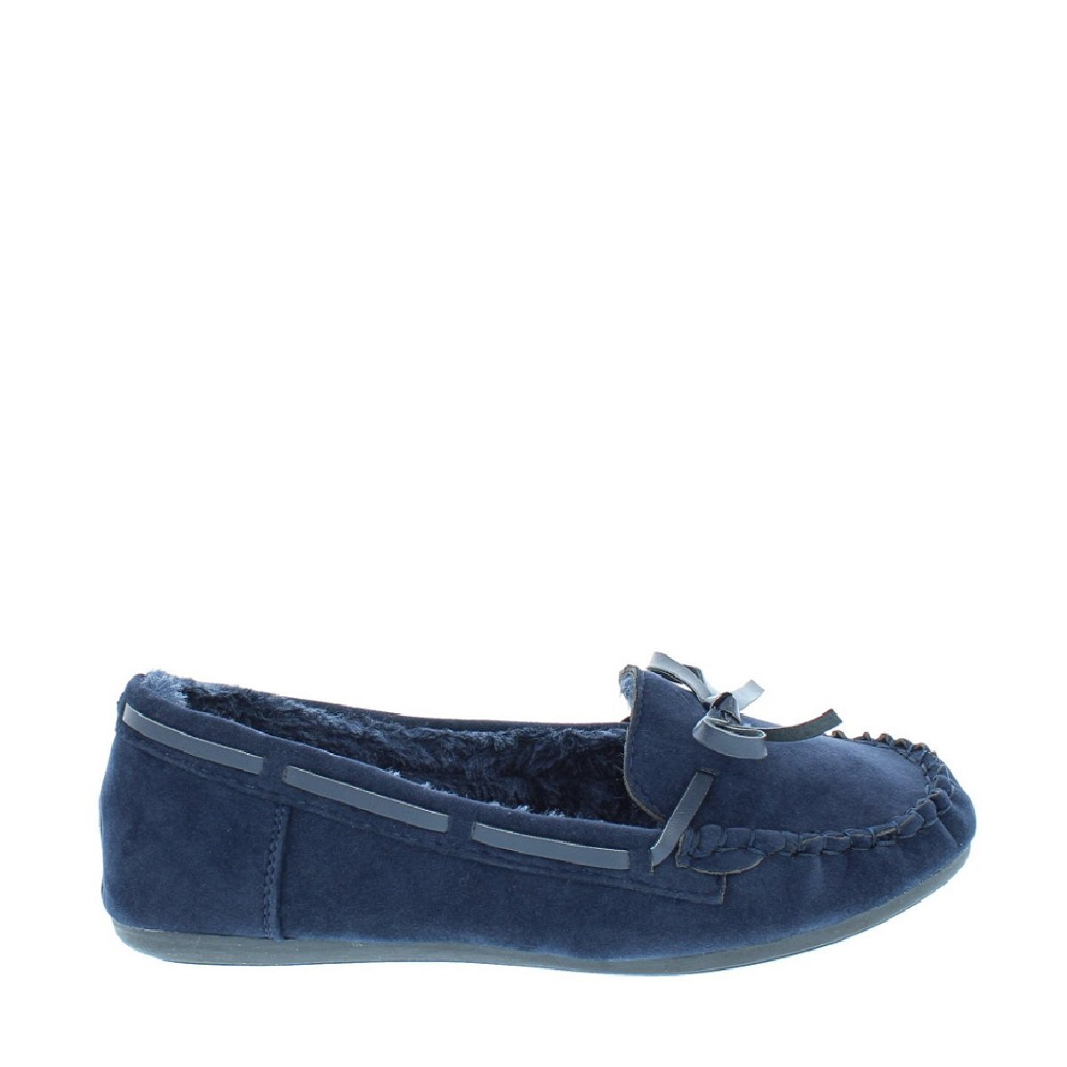 LOV Shoes Women's Faux Suede Fur Moccasin Slippers (Navy, 8 B(M) US) by LOV Shoes