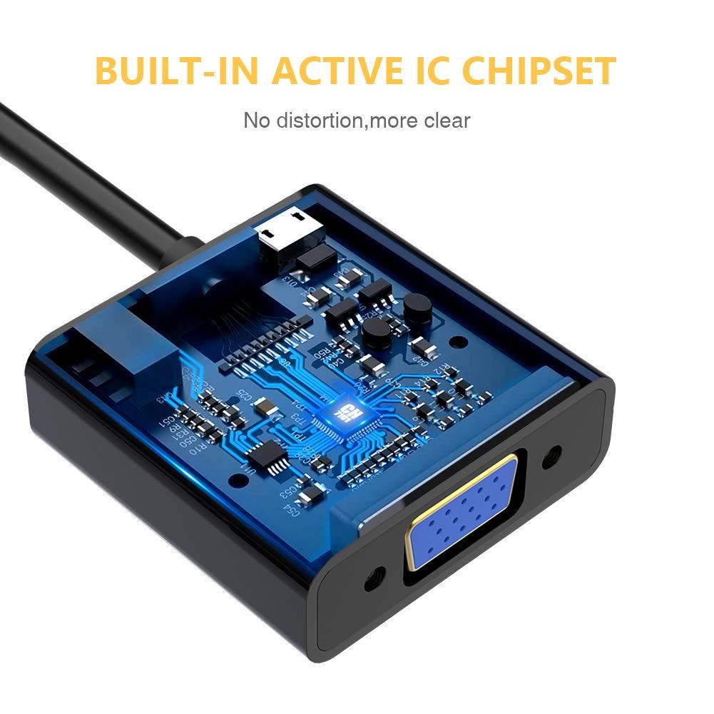 TechRise HDMI auf VGA Vergoldet 1080P Aktive HDTV HDMI zu VGA Adapter Konverter Kable mit Audio und Micro USB Ladekabel