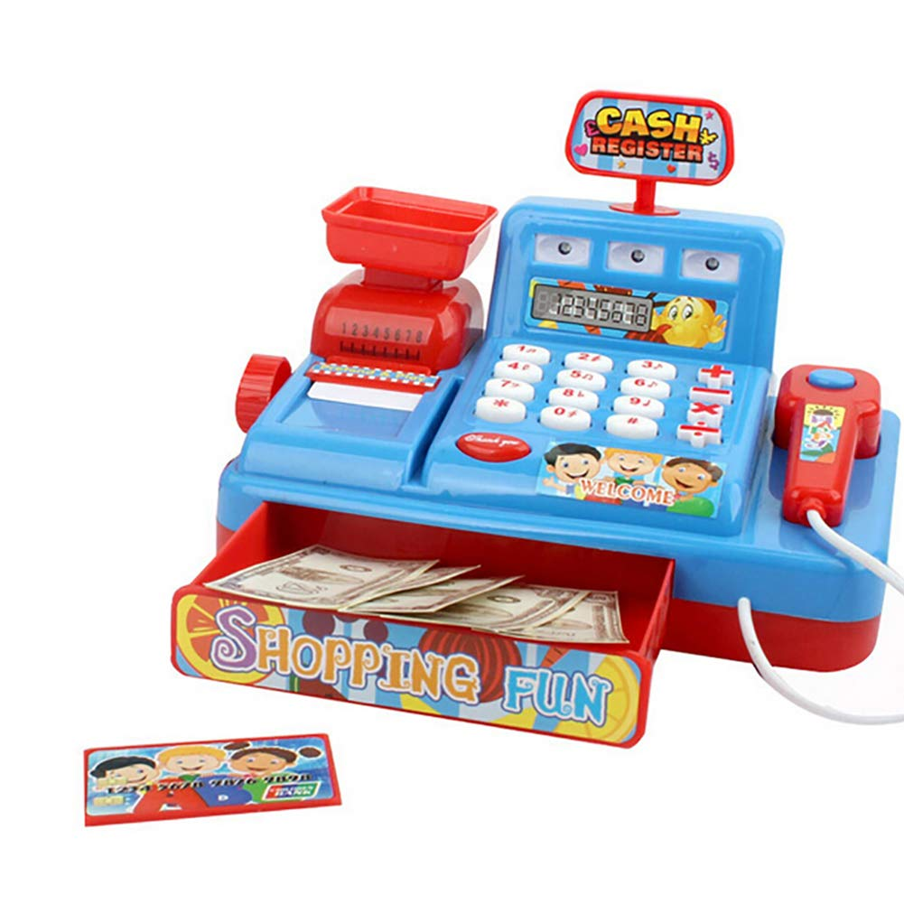 minishop659 Cashier Toy,Child Simulated Pretend Role Play Set with Music Light Cash Register Check Out Toy Ideal Gift Blue by minishop659