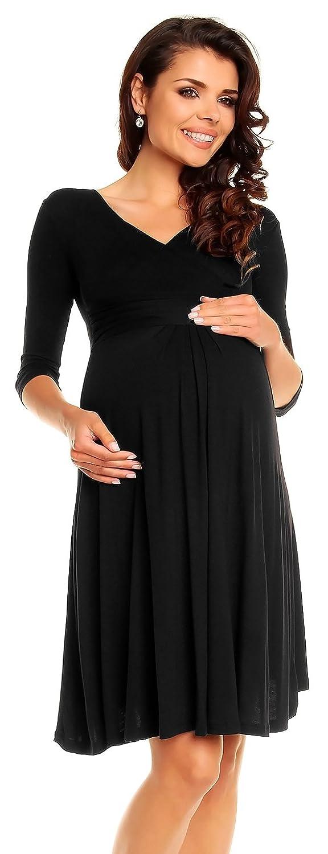 fe641cd5532eb Zeta Ville Women's Maternity Dress Summer Cocktail Skater Baby Shower Dress  282c (Black, Size