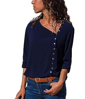 44b859811f52 Udgwaz Damen Bluse Chiffon Lange Ärmel Oberteile Hemd Top Blusenshirt