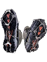 Ice and Snow Crampons Microspikes 8 Teeth Stainless Steel Anti-slip Traction Cleats for Everyday Safety in Winter, Black 1 pair M (US 5-7.5)