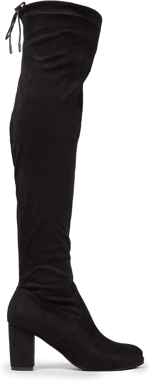Adams Aspen Thigh High J Low Chunky Block Heel Drawstring Over The Knee Boot