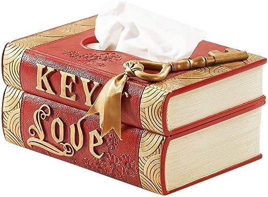 JZLRHOHO Caja de pañuelos en Forma de Libro, Resina, Caja de decoración de Almacenamiento, Rojo, 20 × 14,5 × 9,9 cm Sala de Estar, Dormitorio, Oficina,Restaurante: Amazon.es: Hogar