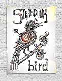 XHFITCLtd Surrealistic Tapestry, Steampunk Bird Mechanical Animal Modern Times Fiction Print, Wall Hanging for Bedroom Living Room Dorm, 60 W X 80 L Inches, Coconut Seal Brown Yellow