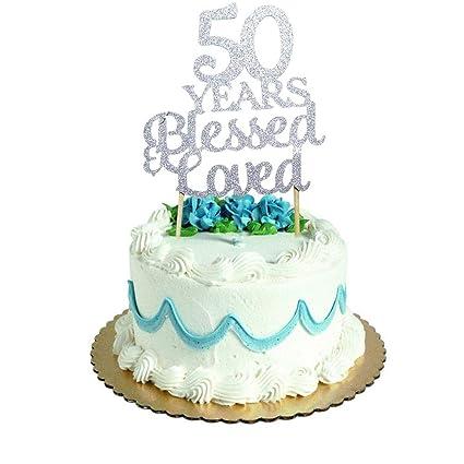Amazon.com: Decoración para tarta de 50 años, con purpurina ...
