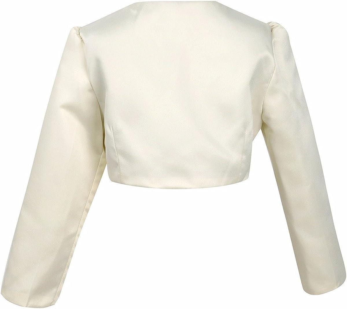 FEESHOW Kids Girls Long Sleeves Bolero Jacket Shrug Short Cardigan Sweater Wedding Prom Dress Cover Up