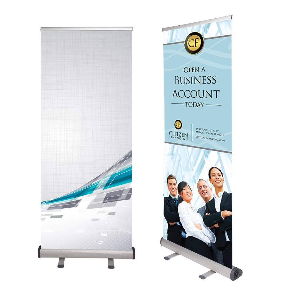 Roll Banner Simple, Retractable Banner Stand Up to 90 Inches High, Aluminum Stand with Adjustable Tension, Reusable, Includes Carrying Bag