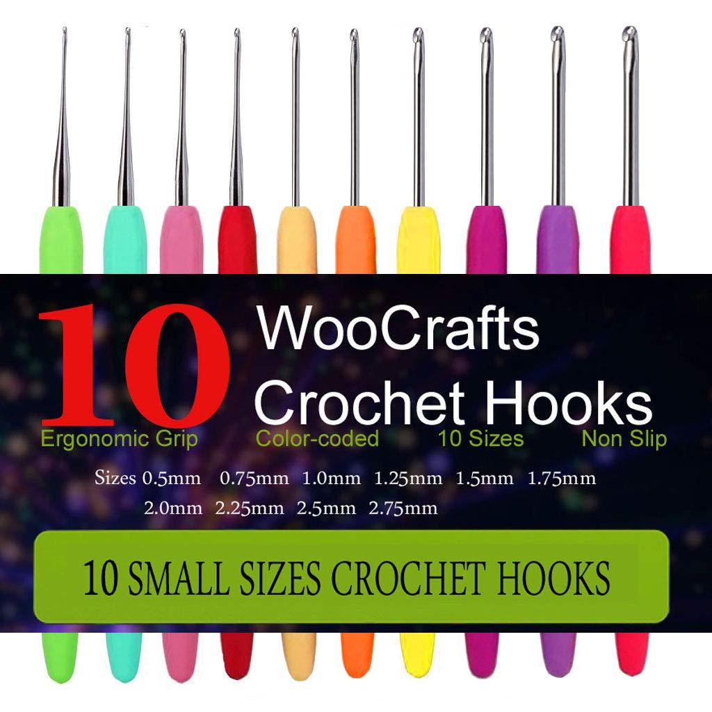 Woocrafts - 10 Juego de Aguja de Crochet de acero de pequ...