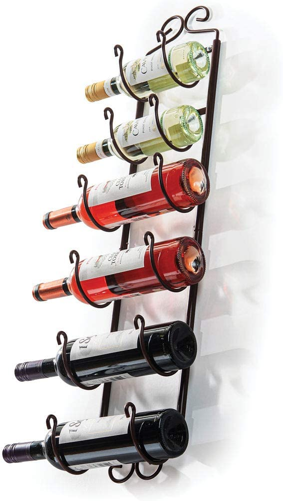 Sagler Towel Rack and Wine Rack - Bronze Wall Wine Rack - Wall Mounted Wine Rack fits up 6 Level Wine Bottles and Many Towels - fits as Bathroom Towel Holder, or Towel Hanger, or a Cap Rack