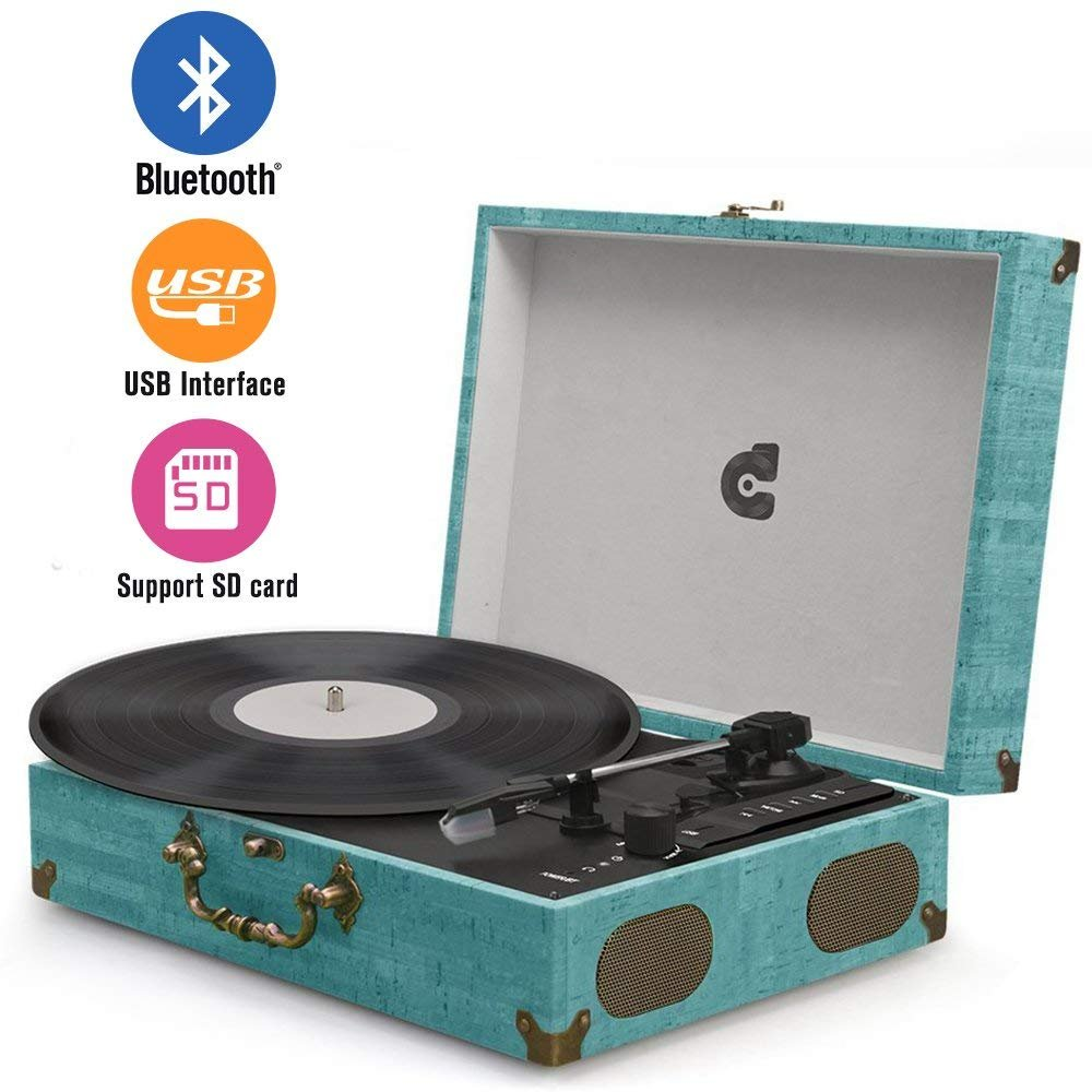 Wockoder Portable Bluetooth 3 Speed Turntable with Built in Stereo Speakers, Vintage Style Vinyl Record Player …