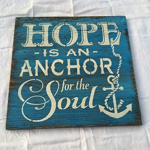 HOPE is an ANCHOR for the SOUL Hand painted Welcome wall hanging Home decor 12x12 in Wood Porch Sign ()