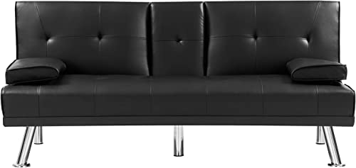 HWT Modern 66 Futon Loveseat Sofa Bed Faux Leather Convertible Folding Sleeper Sofa Couch Armless No-Tool Assembly Upholstered Lounger Sofa Bed Living Room Furniture Apartment Office Bedroom Black