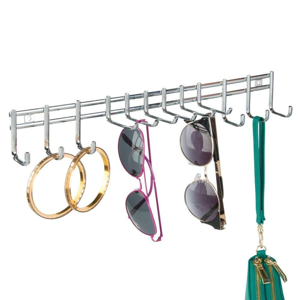 Cromado guarda corbatas mDesign Paquete de 2 cinturones de pared Perchero organizador del armario