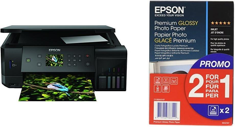 Epson EcoTank ET-7700 - Impresora, color negro + Papel fotográfico ...