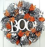 White Black Boo Halloween Mesh Outdoor Front Door Wreath; Black White Orange