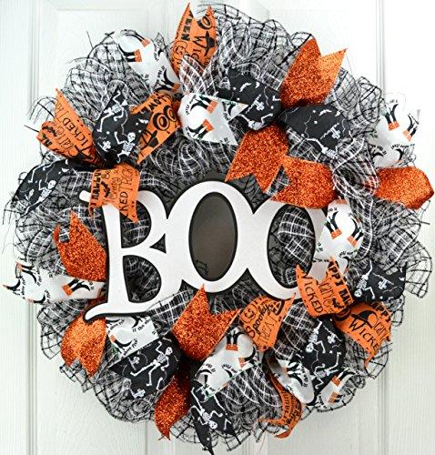 Boo Halloween Mesh Front Door Wreath