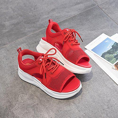 QQWWEERRTT Mode Sport Sandalen Schulmädchen Sommer Neue Universal Vintage Plattform Schuhe Rom