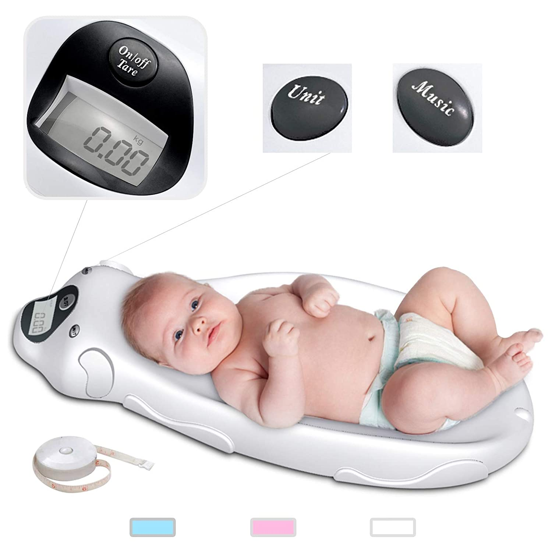 Sotech Baby Digitalwaage mit Musik Neugeborene Haustierwaage mit Tara-Funktion /& Messband Wei/ß Max Belastbarkeit bis 20 kg