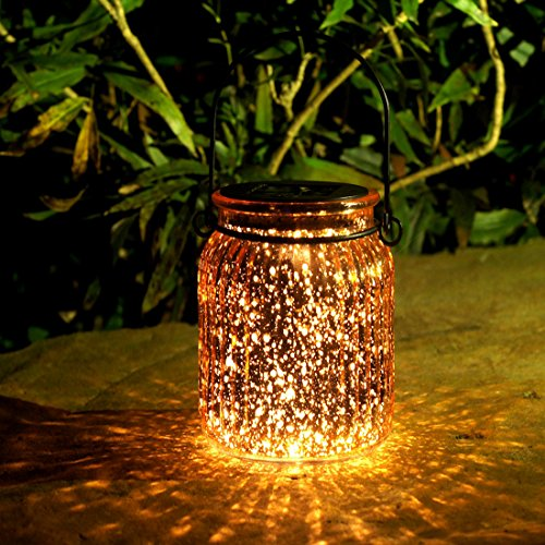 Voona 2-Pack Solar Bronze Mercury Glass Jar Outdoor Lights for Hanging and Ground Use Pathway Table Garden Decoration (Outdoor Glass Tables)