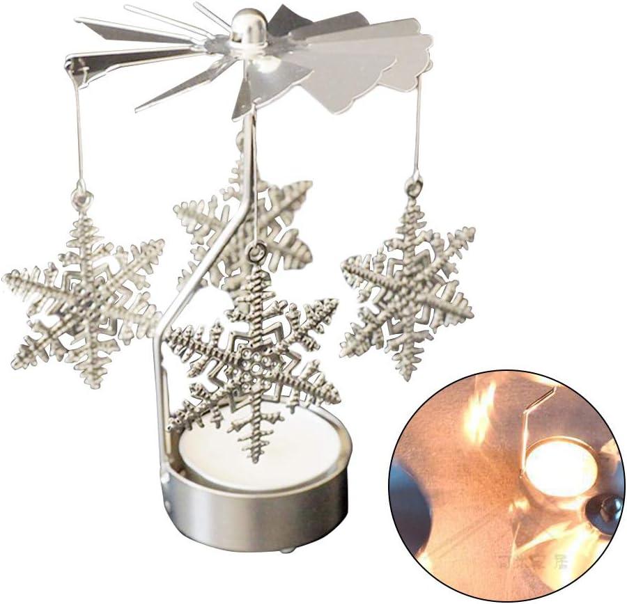 zhibeisai Spinning rotaci/ón de Fiesta de la Boda del sostenedor de Vela de Navidad la decoraci/ón del hogar del Metal Portacandelitas Candelabro