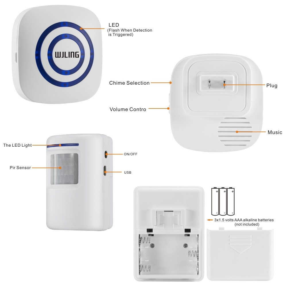 Driveway Patrol Motion Sensor Wiring Diagram Online Diagrams Amazon Com Wjling Home Security Alarm Wireless Alert