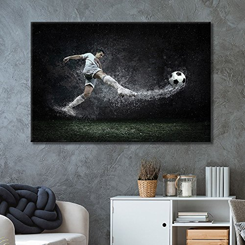 wall26 - Canvas Wall Art Sports Theme - Man Kicking Soccer Power - Giclee Print Gallery Wrap Modern Home Decor Ready to Hang - 24x36 inches ()